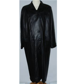 Bison Size: SMALL Real Leather Long Black Trench Coat