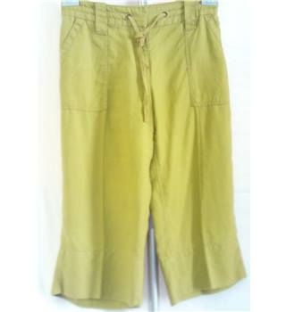 Monsoon - Cropped Trousers - Size 14 - Olive Green