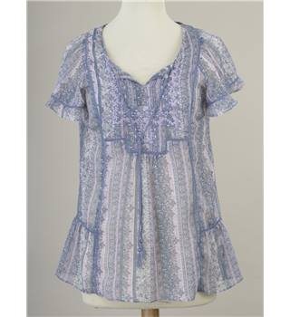 Indigo Blue/Mauve Patterned Top with Camisole