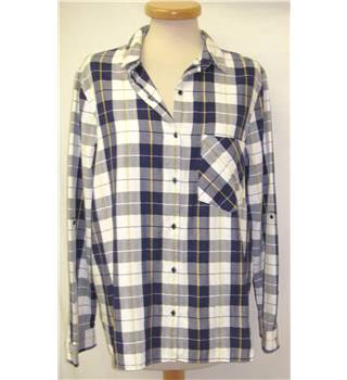 Zara - Size: L - Yellow, White and Blue Check Pattern - Long sleeved shirt