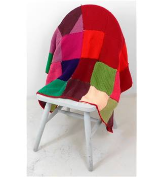Eccentric Handmade Knitted Patchwork Blanket Multi-Coloured Red Trim