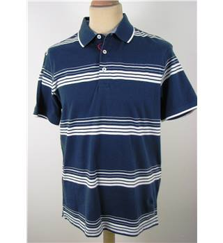 M&S Blue Harbour Size S Navy Striped Polo