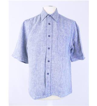 Jaeger size S  blue / white chambray weave short sleeve shirt