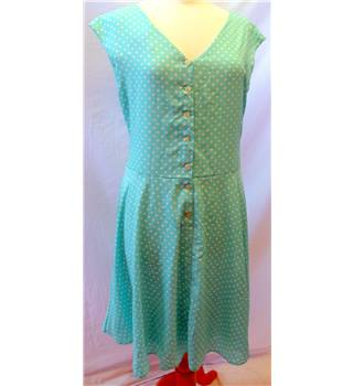 Loved Robe - Size: 16 - Green Turquoise White - Ladies' Knee length dress