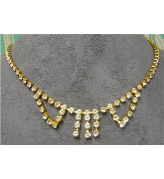 Necklace, gold mounted glass gems chain with drops Unbranded - Size: Small - Metallics - Necklace