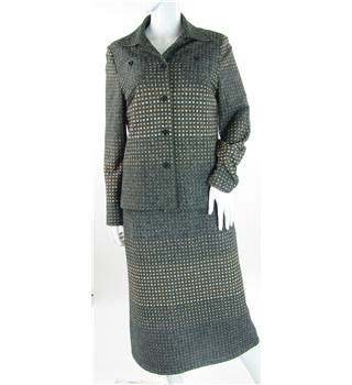 VINTAGE Lerose - Size: 12 - Grey Patterned - Skirt suit
