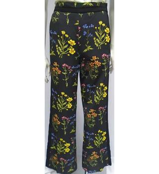 BNWT - H&M - Size 10 - Black with floral print - Wide leg Trousers