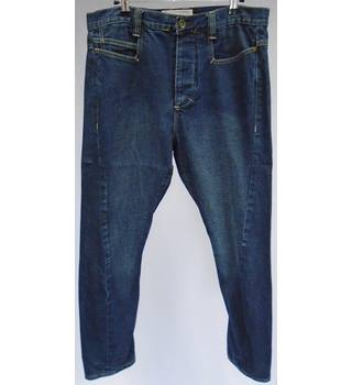 Topman (Skinny Carrot) - Size 32S - Dark Blue Denim - Twisted Seam - Jeans