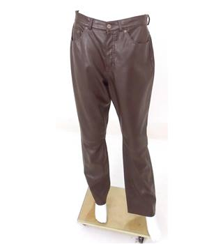 "M&S Marks & Spencer Size: 30"" Brown Faux Leather Trousers"