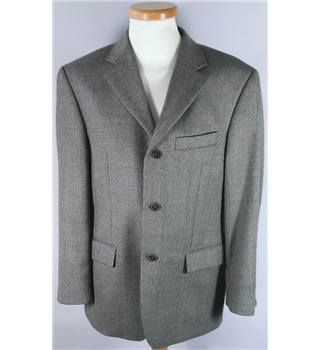 Marks & Spencer medium (short) Moss Green Tweed Single Breasted Wool mix Blazer with cashmere