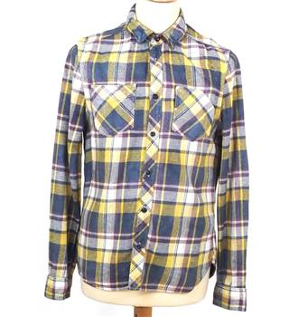 All Saints Size M Yellow Maroon Black and White Checked Shirt