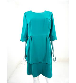 Whistles Size 16 Turquoise Knee Length Dress