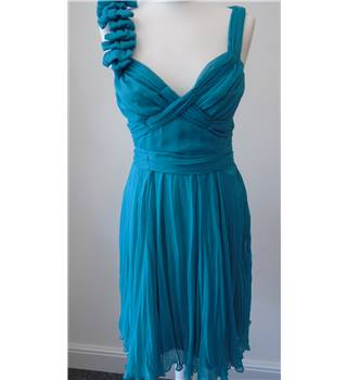 Warehouse Turquoise Grecian Style Party Dress - Size: 10