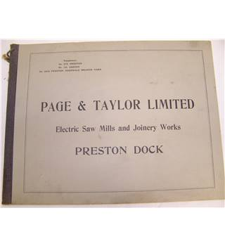 "Page & Taylor Limited (Electric Saw Mills and Joinery Works)  Preston Docks Vintage book "" collectors item"""
