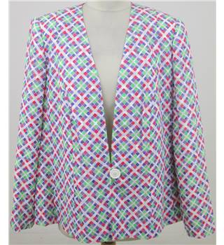 Vintage 1990's Donald Campbell, size L white patterned lightweight jacket
