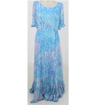 Vintage 1990's Donald Campbell, size L blue patterned floaty maxi-dress