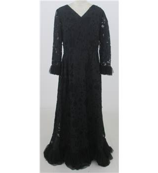 Vintage 90s Donald Campbell Size:XL black cut-away lace evening dress