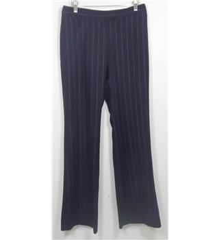Boden Navy Wool Bootcut Trousers  with Purple Pin StripeSize 12R