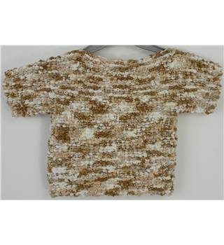 Handmade Bobble knit Cream/Beige/Brown Mix Block Knitted Jumper Would fit Age 2-3 year