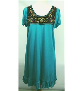 Papaya - Size 14 - Embroidered and Beaded Long Turquoise Top dress [HALF PRICE]