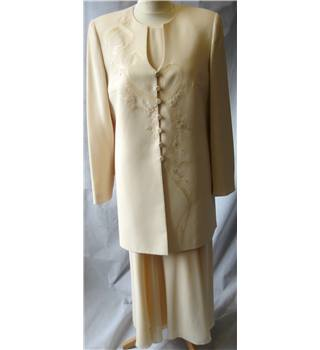 Condici Set - Size: 14 - Cream/Ivory -2 Piece Dress Suit-Chiffon Maxi Dress-Floral Embroidered Long Jacket