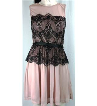 Miss Selfridge size 8 sleeveless belted dress in flesh colour with black lace feature.