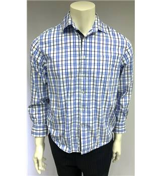 Easy Essential - Size Small - Blue And White Checked - 100% Cotton - Long Sleeved Shirt
