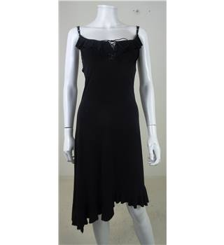 Lissa Paris - Size XS - Black Asymmetrical Ruffle Slip Strap Dress