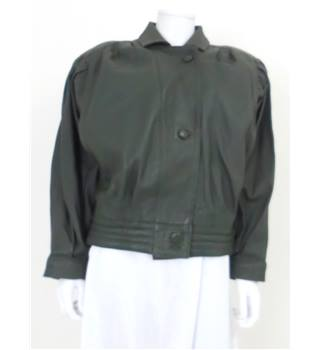 Vintage 1980's Houidi Size: L Dark Green Leather Jacket