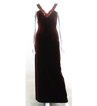 Zum Zum by Niki Livas Size 6 Brown Velvet Sequin Accent Dress