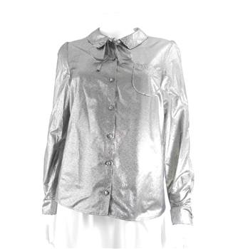 Marks & Spencer & by Alexa Chung Silver Metallic Long Sleeved Blouse  Size: 10