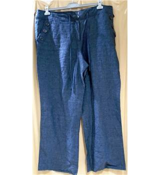"BNWOT Navy Linen Wide-Leg Trousers Monsoon - Size 20"" - Blue - Trousers"