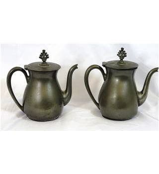 Matching Pair of Old Metal Coffee Pots