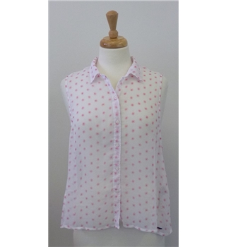 Hollister Medium sheer pink and white top. Hollister - Size: M - Pink