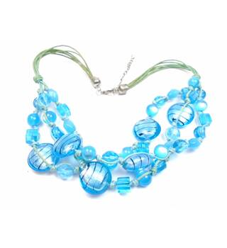 Blue glass & plastic bead 3 strand necklace