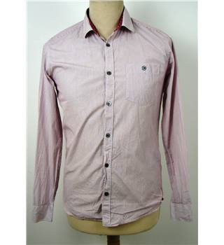 Ted Baker Size XS White/Maroon Pin Striped Shirt