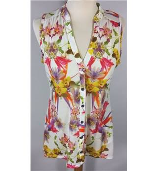 WALLIS size 8 White Floral Sleeveless Shirt [HALF PRICE]