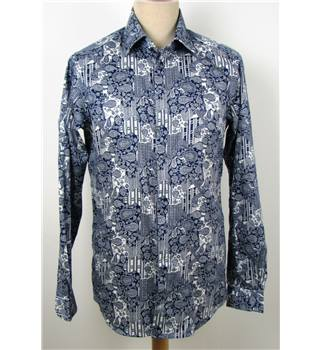 Diesel Black Gold Size S White and Navy Blue Patterned Shirt