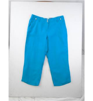 Marks & Spencer (Per Una) Size 14 Turquoise Cropped Linen Trousers