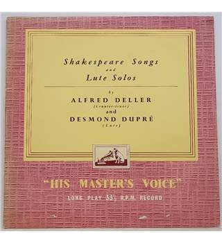 Shakespeare Songs and Lute Solos Deller, Alfred & Dupre, Desmond - ALP 1265