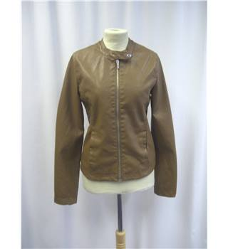 Pull&Bear - Size: S - Brown - Imitation Leather Jacket
