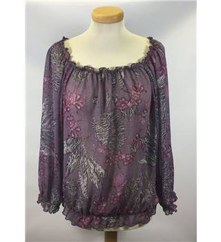 AFIBEL Size 14 sheer Lilac long sleeved top afibel - Size: 14 - Purple - Blouse