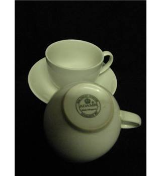 Adams Ironstone White Two Cups One Saucer.