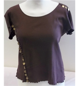 Per Una - Size: 12 - Brown - Cap sleeved T-shirt