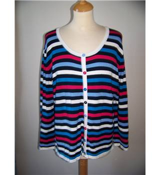 Country Casuals - Size: L  navy and alternating other colours horizontally striped cardigan