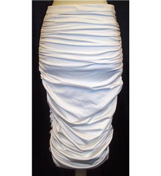 BNWT Peace & Love - Misguided  Size 8  White ruched Midi skirt