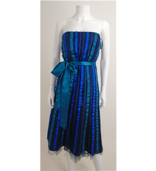 Debut Size 12 Blue/Green mix Ribbon Embellished Strapless Occasion Dress