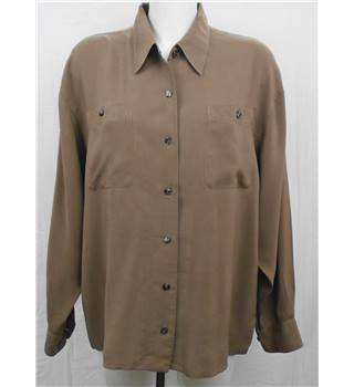 Rebecca Sheldon brown silk shirt Size XL