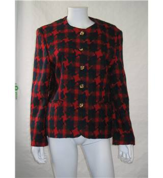 Klein Petit Paris red navy and green woollen jacket