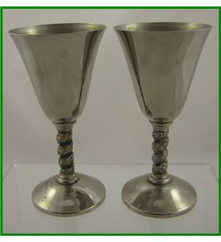 Spanish - silver plate - pair of wine goblets